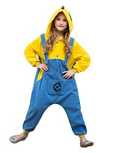 billige Kigurumi-Kigurumi-pysjamas Mini gule menn Onesie-pysjamas Kostume Polar Fleece Cosplay Til Barn Pysjamas med dyremotiv Tegnefilm Halloween