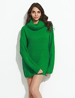 baratos Suéteres de Mulher-Feminino Padrão Pulôver,Casual Simples Sólido Vermelho / Branco / Preto / Cinza / Verde Gola Alta Manga Longa Lã Primavera / Outono Média
