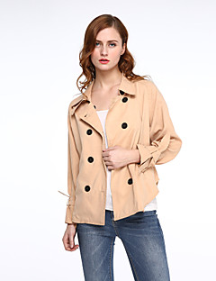 Damen Solide Einfach Jacke,Hemdkragen Frühling Langarm Standard Baumwolle