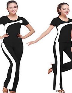 女性用 ランニングTシャツ(パンツ付き) 半袖 高通気性 モイスチャーコントロール トレーナー 洋服セット のために ヨガ エクササイズ&フィットネス レーシング ランニング テリレン クールマックス スリム ブラック レッド ブルー S M L XL