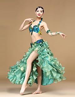 ベリーダンス セット 女性用 演出 コットン ポリエステル オーガンザ ビーズ ルーズブーツ スプリットフロント 3個 ローウエスト スカート ブラジャー ウエストベルト