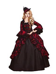 Wiktoriańskie Rococo Kadın's Tek-parça Elbiseler Kırmızı Cosplay Dantel Pamuk Uzun Kollu Şiir Kol Yere Kadar