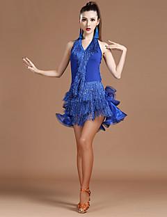 私たちはラテンダンスのドレスをする必要があります女性のスパンデックスクリスタル/ラインストーンはハイドレスを台無しに