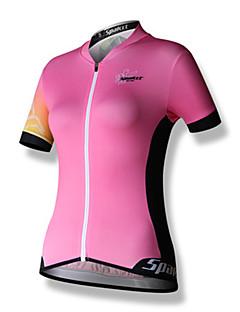billige Sykkelklær-SPAKCT Dame Kortermet Sykkeljersey - Rosa Sykkel Jersey, Fort Tørring, Pustende, Refleksbånd