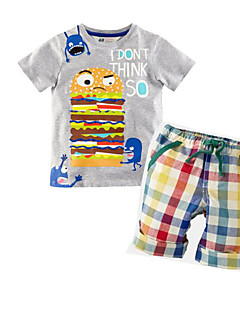 Boys' Daily Solid Clothing Set,Rayon Summer Short Sleeve Gray