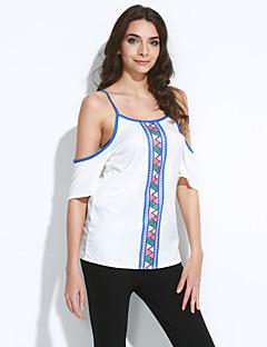 婦人向け お出かけ 夏 Tシャツ,セクシー ラウンドネック プリント ホワイト ポリエステル 半袖 ミディアム