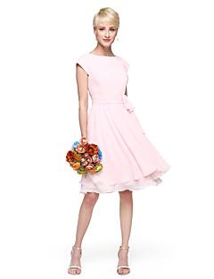 billige Romantisk rosa-A-linje Prinsesse Besmykket Knelang Chiffon Brudepikekjole med Sløyfe(r) Knapper Belte / bånd Bølgemønster av LAN TING BRIDE®