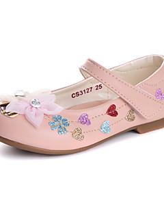 お買い得  フラワーガールシューズ-女の子 靴 レザーレット 春夏 コンフォートシューズ / フラワーガールシューズ フラット ラインストーン / アップリケ / スパークリンググリッター のために ホワイト / ピンク / パーティー