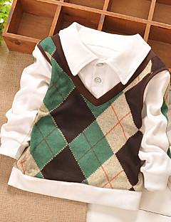 tanie Odzież dla chłopców-Koszula Bawełna Dla chłopców Codzienny Wyjściowe Patchwork Wiosna Jesień Długi rękaw Elegancka odzież Kratka Green Niebieski
