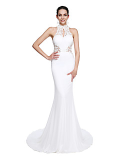 cheap -Mermaid / Trumpet Illusion Neckline Court Train Jersey Prom / Formal Evening Dress with Beading Appliques by TS Couture®
