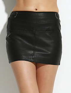 Χαμηλού Κόστους Mini Skirt-Γυναικεία Μεγάλα Μεγέθη Εφαρμοστό Φούστες - Μονόχρωμο