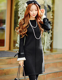 Feminino Reto Bainha Tricô Vestido, Para Noite Casual Férias Vintage Moda de Rua Sofisticado Sólido Estampa Colorida Gola RedondaAcima do