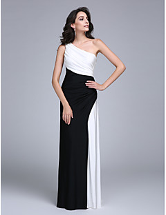 Sheath / Column One Shoulder Floor Length Jersey Formal Evening Dress with Side Draping by TS Couture®