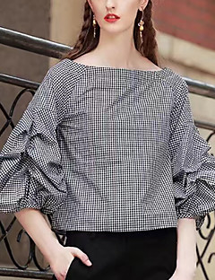 Women's Going out Holiday Vintage Sexy Blouse,Check Boat Neck Cotton Rayon