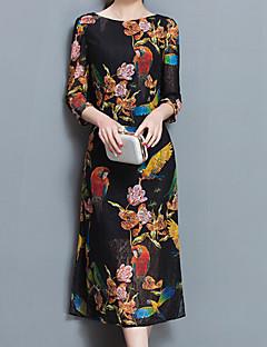 女性 ヴィンテージ シンプル アジアン・エスニック プラスサイズ お出かけ パーティー シフト ドレス,ジャカード ラウンドネック ミディ 七部袖 ブラック その他 オールシーズン ミッドライズ マイクロエラスティック ミディアム