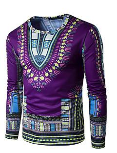 お買い得  メンズファッション&ウェア-男性用 スポーツ - プリント Tシャツ 活発的 誇張された ボヘミアン ラウンドネック 幾何学模様 コットン