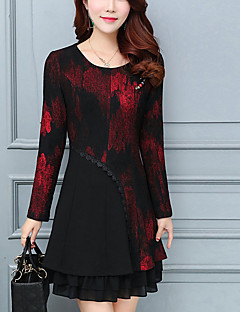 Women's Going out Plus Size Street chic A Line Dress,Print Round Neck Above Knee Long Sleeves Polyester Spring Fall Mid Rise Inelastic