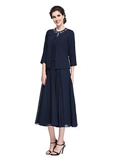 Χαμηλού Κόστους -Γραμμή Α Με Κόσμημα Κάτω από το γόνατο Σιφόν Φόρεμα Μητέρας της Νύφης με Χάντρες με LAN TING BRIDE®