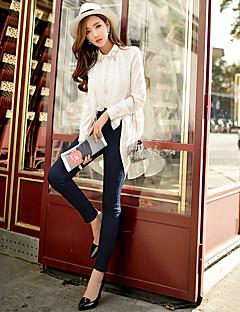 Dames Slank Jeans Chinos (zwaar katoen) Broek,Effen Uitgaan Casual/Dagelijks Vakantie Vintage Street chic Punk & Gothic Hoge taille Rits