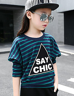Girl Casual/Daily Striped Print Tee,Cotton Spring Fall Long Sleeve Regular