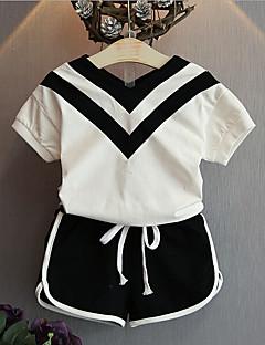 billige Tøjsæt til piger-Pige Tøjsæt Daglig Ensfarvet, Bomuld Rayon Sommer Uden ærmer Sort
