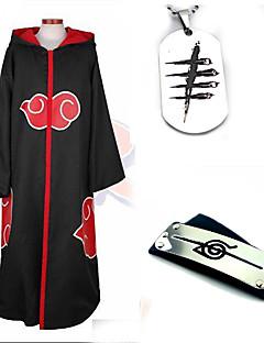 """billige Anime cosplay-Inspirert av Naruto Akatsuki Anime  """"Cosplay-kostymer"""" Cosplay Klær Mer Tilbehør Ensfarget Langermet Kappe Mer Tilbehør Til Herre Dame"""