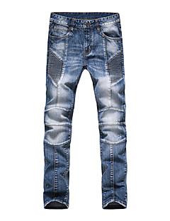 billige Herrebukser og -shorts-Herre Fritid Bomull Tynn Jeans Bukser Ensfarget