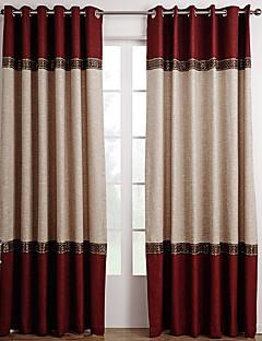 billige Forede Gardiner-Stanglomme Propp Topp Fane Top Dobbelt Plissert To paneler Window Treatment Neoklassisk Ensfarget Stue Polyester Materiale gardiner