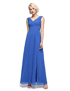 cheap Imperial Blue-A-Line V Neck Ankle Length Chiffon Bridesmaid Dress with Ruched Criss Cross by LAN TING BRIDE®