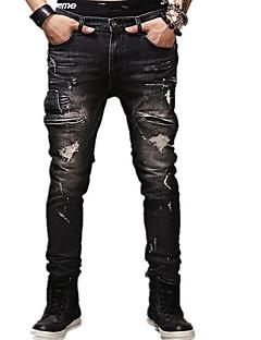 Herre Enkel Mikroelastisk Jeans Bukser,Tynn Mellomhøyt liv dratt Ensfarget