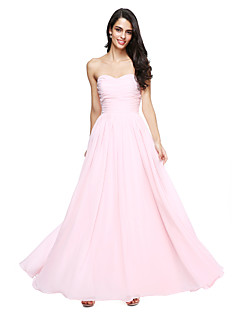 A-Line Sweetheart Floor Length Chiffon Bridesmaid Dress with Ruching by LAN TING BRIDE®