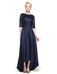 cheap Special Occasion Dresses-A-Line Jewel Neck Asymmetrical Taffeta Sequined Bridesmaid Dress with Sequin Bow(s) by LAN TING BRIDE®
