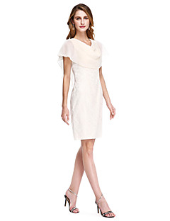 cheap Mother of the Bride Dresses-Sheath / Column Cowl Neck Knee Length Chiffon Lace Mother of the Bride Dress with Pleats by LAN TING BRIDE®