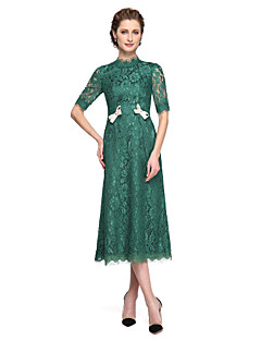 cheap Mother of the Bride Dresses-A-Line High Neck Tea Length All Over Lace Mother of the Bride Dress with Bow(s) Lace Pleats by LAN TING BRIDE®