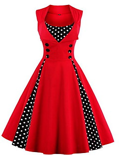 Women's Going out Plus Size Vintage A Line Dress,Solid Polka Dot Round Neck Knee-length Sleeveless Cotton Spring Summer Fall Mid Rise