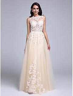 Γραμμή Α Με Κόσμημα Μακρύ Τούλι Χορός Αποφοίτησης Επίσημο Βραδινό Φόρεμα με Διακοσμητικά Επιράμματα με TS Couture®