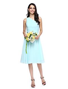 tanie Królewski błękit-Krój A Na jedno ramię Do kolan Szyfon Sukienka dla druhny z Drapowania boczna przez LAN TING BRIDE®