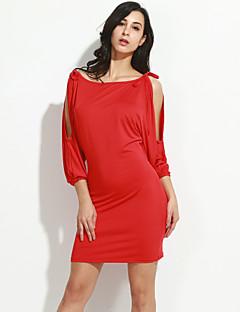 Γυναικεία Πάρτι/Κοκτέιλ Σέξι / Απλό Εφαρμοστό Φόρεμα,Μονόχρωμο Μακρυμάνικο Χαμόγελο Πάνω από το Γόνατο Μπλε / Κόκκινο / Μαύρο Ρεϊγιόν