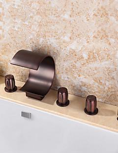 billige Sidesray-Badekarskran - Moderne Olje-gnidd Bronse Badekar Og Dusj Keramisk Ventil Bath Shower Mixer Taps / Messing / Tre Håndtak fem hull
