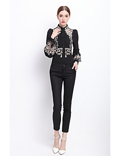 Dames Schattig Street chic Lente Herfst Overhemd,Werk Bloemen Ronde hals Lange mouw Polyester Medium