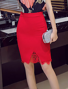 cheap Women's Skirts-Women's Going out Plus Size Bodycon Skirts - Solid Colored Lace
