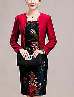 女性 シンプル プラスサイズ お出かけ ボディコン ドレス,ジャカード ラウンドネック 膝上 長袖 レッド ポリエステル 春 秋 ミッドライズ 伸縮性なし ミディアム