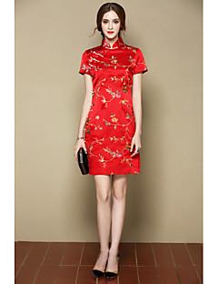 A-vonalú Ruha Női Csinos Kínai Alkalmi Party/koktél,Virágos Állógallér Térd feletti Rövid ujjú Piros Sárga Selyem Tavaszi NyáriKözepes