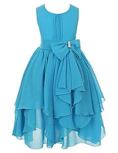 tanie Odzież dla dziewczynek-Sukienka Bawełna Poliester Dziewczyny Wyjściowe Jendolity kolor Lato Bez rękawów Kokarda Falbany Purple Yellow Fuchsia Light Blue