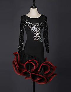 お買い得  -ラテンダンス ドレス 女性用 性能 スパンデックス オーガンザ クリスタル/ラインストーン 長袖 ドレス