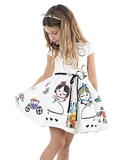 Girl's Beach Print Dress,Cotton Summer Sleeveless Floral White