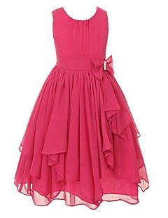 お買い得  ガールズウェア-幼児 女の子 ヴィンテージ ソリッド リボン ラッフル ノースリーブ ドレス