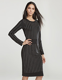 여성 바디콘 드레스 데이트 / 파티/칵테일 섹시 / 심플 줄무늬 / 문자,라운드 넥 무릎길이 긴 소매 블랙 폴리에스테르 가을 / 겨울 중간 밑위 약간의 신축성 중간