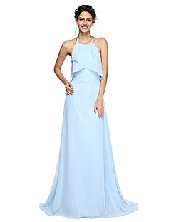 cheap Imperial Blue-A-Line Halter Sweep / Brush Train Chiffon Bridesmaid Dress with Pleats by LAN TING BRIDE®