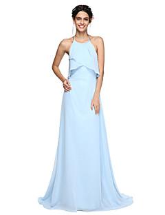 זול Kuninkaallisen sininen-גזרת A קולר שובל סוויפ \ בראש שיפון שמלה לשושבינה  עם קפלים על ידי LAN TING BRIDE®